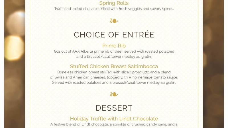 New Years Eve & New Years Day Feature Menu